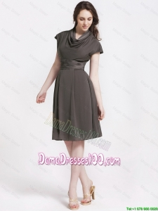 Discount High Neck Knee Length Dama Dresses in Chocolate for 2016