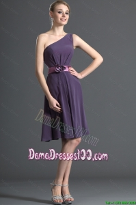 Most Popular Belt and Hand Made Flower Purple Dama Dresses for 2016