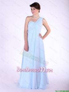 Most Popular Brush Train Ruched Dama Dresses with One Shoulder
