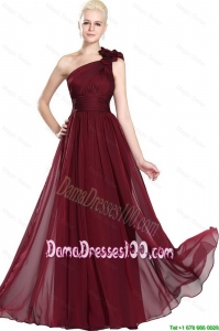 2016 Simple Ruched Burgundy Dama Gowns with One Shoulder