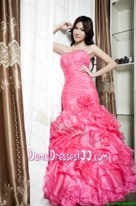 Affordable Beading and Ruffles Mermaid Dama Dresses in Coral Red