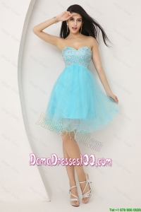 Beautiful Beaded Sweetheart Short Dama Gowns in Aqua Blue