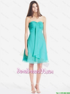 Classical Ruched Short Dama Dresses in Turquoise