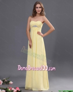 Custom Made Yellow Long Dama Dresses with Beading for 2016