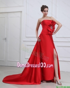 Exquisite Straples Beading and Bowknot Red Dama Dresses with Brush Train