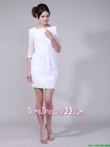 Fashionable Column Bateau Laced Half Sleeves Dama Dresses in White