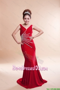 Most Popular V Neck Column Brush Train Red Dama Dresses