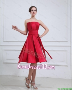 New Style Strapless Short Dama Gowns with Knee Length