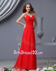 Simple Empire Spaghetti Straps Ruching Red Dama Dresses