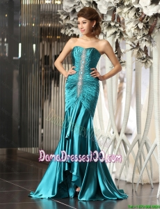 Simple Mermaid Brush Train Beaded Dama Dresses in Teal
