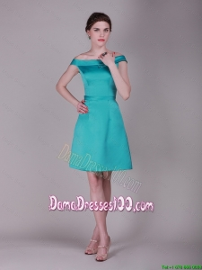 Simple Off the Shoulder Belt Short Dama Dresses in Turquoise