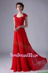 V Neck Lace and Red Dama Dresses with Beading and Lace