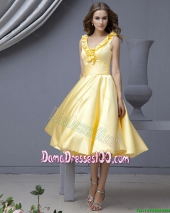 Perfect V Neck Yellow Short Dama Dresses with Ruffles for 2016 Autumn