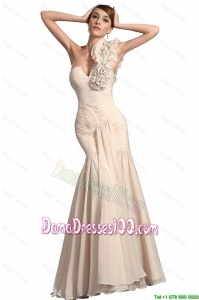 Simple Champagne Mermaid Dama Gowns with Hand Made Flowers