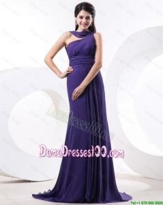 2016 Elegant Ruching Eggplant Purple Dama Dress with Brush Train