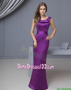 Beautiful Column Scoop Dama Gowns with Floor Length