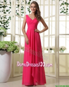Beautiful V Neck Empire Hot Pink Dama Dresses with Ruching