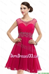 Beautiful Mini Length Scoop Hot Pink Dama Dresses with Cap Sleeves