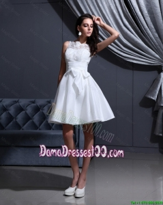 New Style White A Line Dama Gowns with Lace and Bowknot