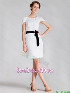 2016 Wholesales Short Scoop White Dama Dress with Sashes