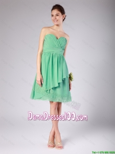 Exquisite Sweetheart Short Ruching and Belt Dama Dresses