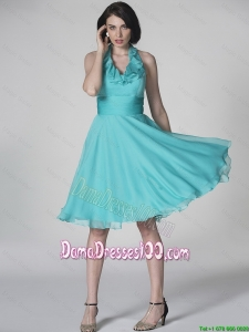 The Super Hot Halter Top Turquoise Dama Dresses with Ruffles and Belt