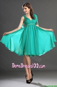 Custom Made Beading and Ruching Dama Dresses in Turquoise