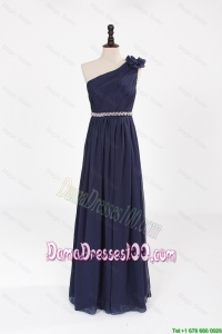 Comfortable Empire Asymmetrical Beaded Dama Dresses with Belt