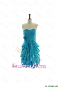 Exclusive Hand Made Flowers Short Dama Dresses in Aqua Blue