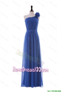 Most Popular Hand Made Flower One Shoulder Long Dama Dresses in Blue