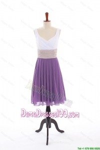 Popular Empire V Neck Dama Dresses with Ruching in Purple