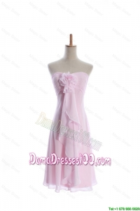 Romantic Empire Strapless Dama Dresses with Hand Made Flowers