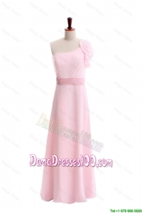 Wonderful Ruffles and Belt One Shoulder Dama Dress in Baby Pink
