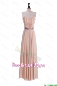 Custom Made Empire Sweetheart Ruching Dama Dresses with Belt