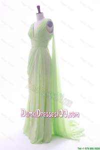 Romantic Empire V Neck Ruching and Pleats Dama Dresses with Watteau Train