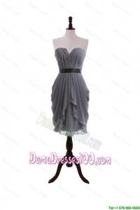 Simple Column Sweetheart Dama Dresses with Belt in Grey