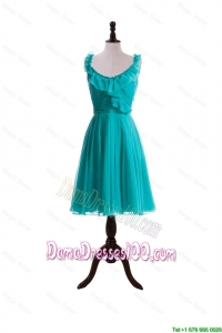 2016 Summer A Line Scoop Dama Dresses with Paillette in Turquoise