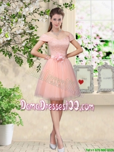 Discount Off the Shoulder Hand Made Flowers Dama Dresses in Baby Pink
