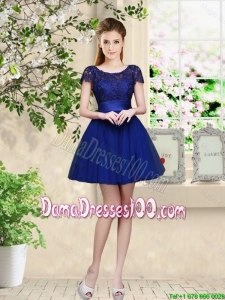 Sturning Bateau Short Royal Blue Dama Dresses with Cap Sleeves