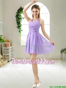 Modest Halter Top Hand Made Flowers Dama Dresses in Purple