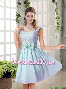 A Line Straps Bowknot Short Dama Dresses with Bowknot
