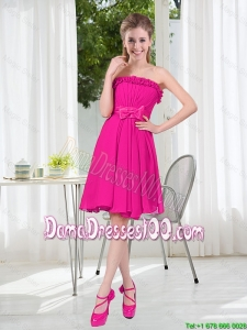 Summer A Line Strapless Short Dama Dresses with Bowknot