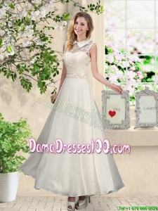 2016 Fashionable Appliques Dama Dresses with High Neck