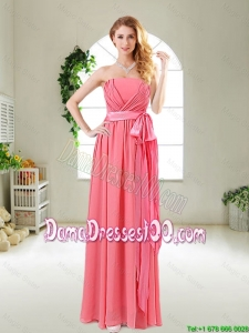Beautiful Strapless Watermelon Red Dama Dresses with Sash