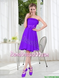 2016 Fall Popular A Line Strapless Short Dama Dress with Bowknot