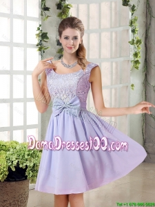 2015 Fall A Line Straps Lace Bridesmaid Dresses in Lavender