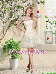 Perfect V Neck Appliques and Belt Short Dama Dresses in Champagne
