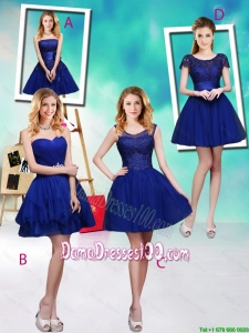 Wonderful Mini Length Royal Blue Wholesales Dama Dresses with Appliques