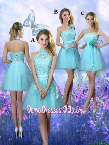 Beautiful A Line Aqua Blue Wholesales Dama Dresses with Appliques