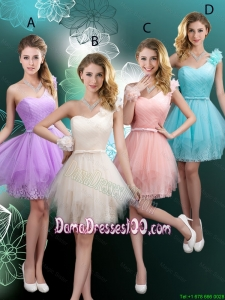Discount Short One Shoulder Wholesales Dama Dresses with Hand Made Flowers